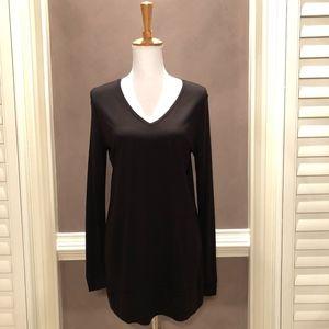 Loft Black V-Neck Long Sleeve Knit Tunic, sz M